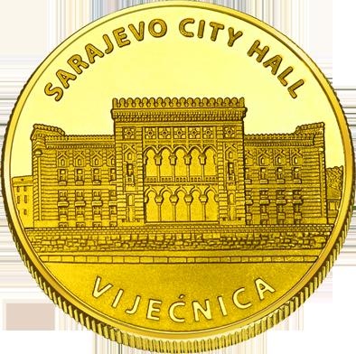 Front side Sarajevska Vijećnica Golden Bosna i Hercegov.