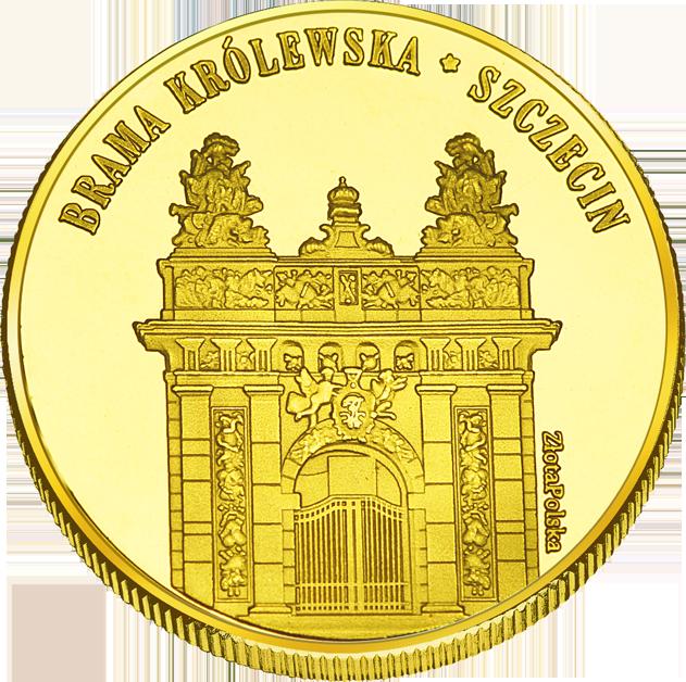 Front side Brama Królewska w Szczecinie Złote Zachodnio-Pomorskie