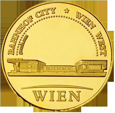 Front side Bahnhof City Wien West Golden Austria