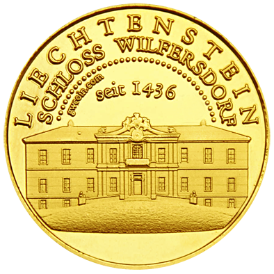 Front side Liechtenstein Schloss Wilfersdorf Golden Austria