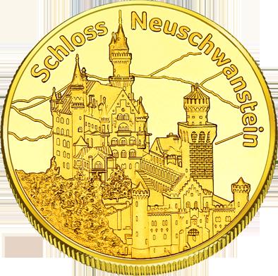 Front side Schloss Neuschwanstein Golden Germany
