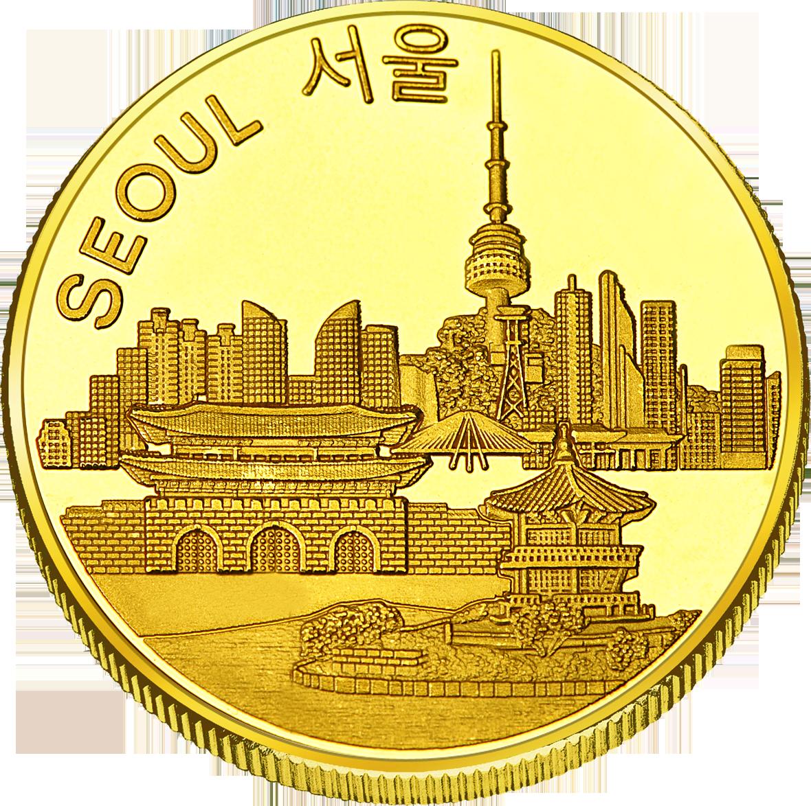 Back side of Namsan Tower Golden Korea