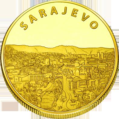 Back side of Sarajevska Vijećnica Golden Bosna i Hercegov.