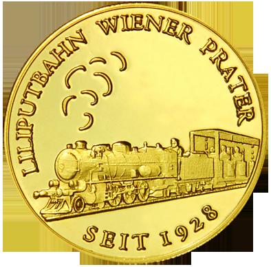 Front side Liliputbahn Wiener Prater Golden Austria